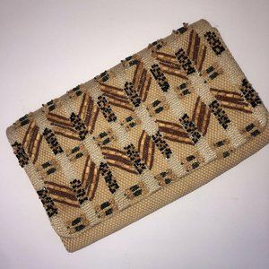 French Connection Woven Wicker Clutch